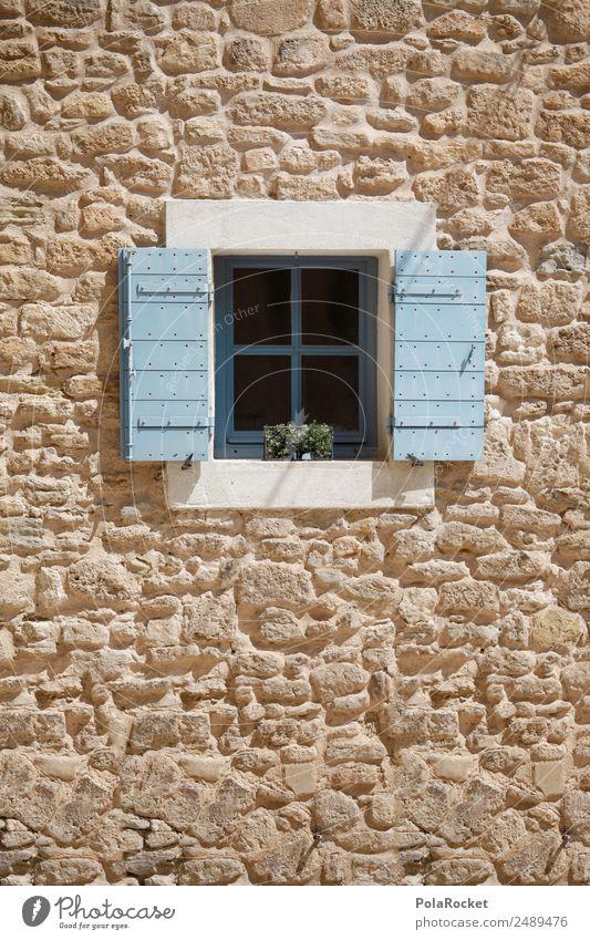 #A# Fenster Babyblau Hütte ästhetisch Fensterscheibe mediterran Frankreich Provence Mauer Fassade Farbfoto mehrfarbig Außenaufnahme Detailaufnahme Experiment