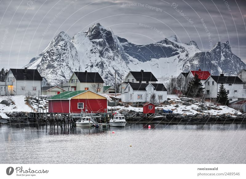 Reinevangen +mts.over Reinefjord-Kjerkfjord. Lofoten-Norwegen-0352 Fisch Meeresfrüchte Umwelt Natur Landschaft Erde Luft Wasser Himmel Wolken Sonnenaufgang