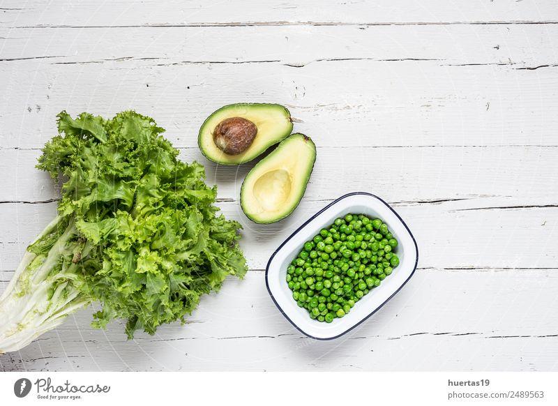 Mischung aus frischem Gemüse Lebensmittel Ernährung Mittagessen Vegetarische Ernährung Diät elegant Stil Design Gesundheit Gesunde Ernährung Tisch Sammlung Holz