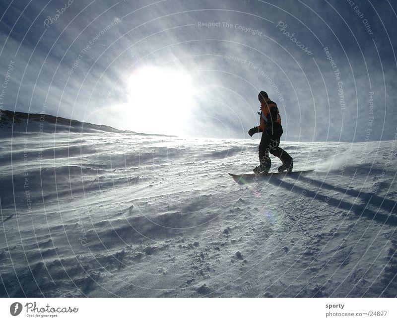 Boarder Snowboard Ferien & Urlaub & Reisen Sport Schnee Berge u. Gebirge Sonne Freude Funsport abwärts Wintersonne Gegenlicht Berghang Schwung steil Wind kalt 1