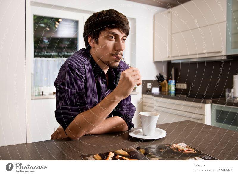 ....... What else! Mensch Jugendliche ruhig Einsamkeit Erholung Erwachsene Denken träumen Stimmung sitzen Wohnung modern natürlich Getränk Lifestyle Kaffee