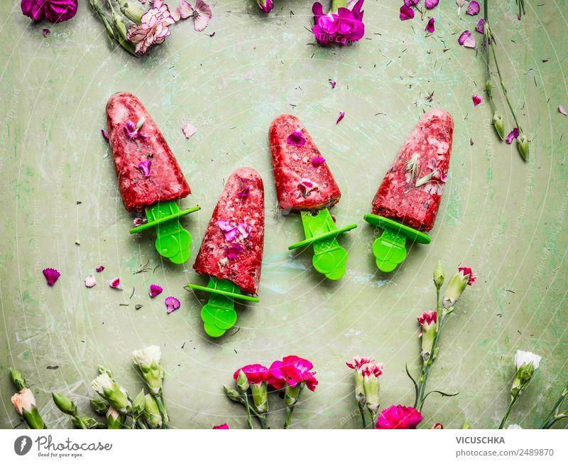 Rote Obst Eis am Stiel Lebensmittel Frucht Speiseeis Ernährung Saft Stil Design Gesunde Ernährung Sommer Häusliches Leben trendy rosa selbstgemacht