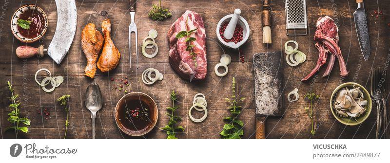Verschiedener Grill Fleisch und Grillutensilien Lebensmittel Kräuter & Gewürze Ernährung Picknick Bioprodukte Geschirr Stil Design Party Restaurant Fahne