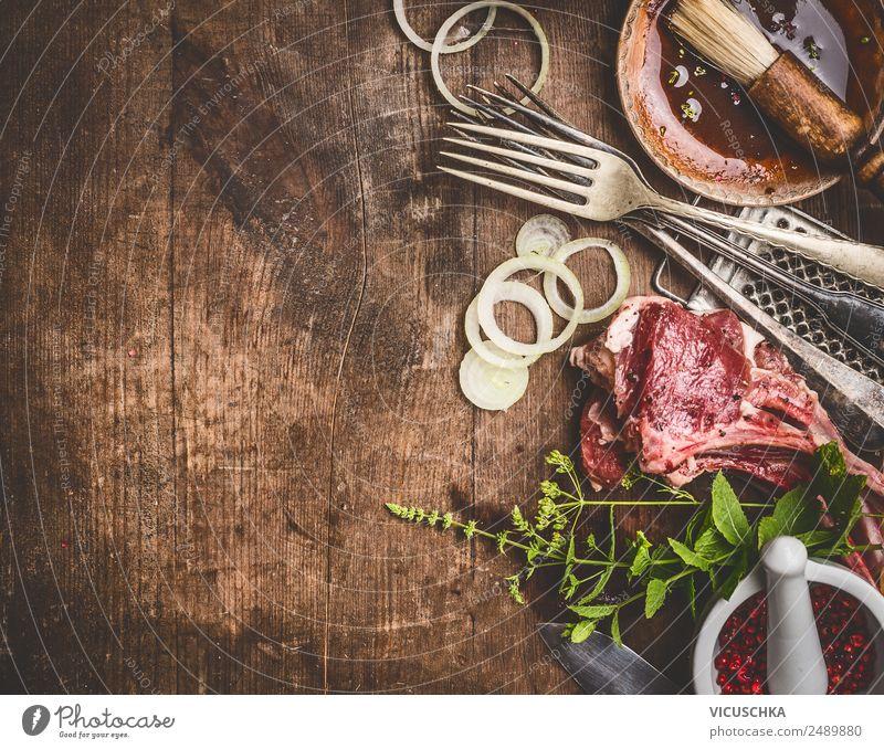 Rohe Lamm und Grill- oder BBQ-Sauce Lebensmittel Fleisch Kräuter & Gewürze Ernährung Bioprodukte Geschirr kaufen Stil Design Restaurant Saucen Hintergrundbild