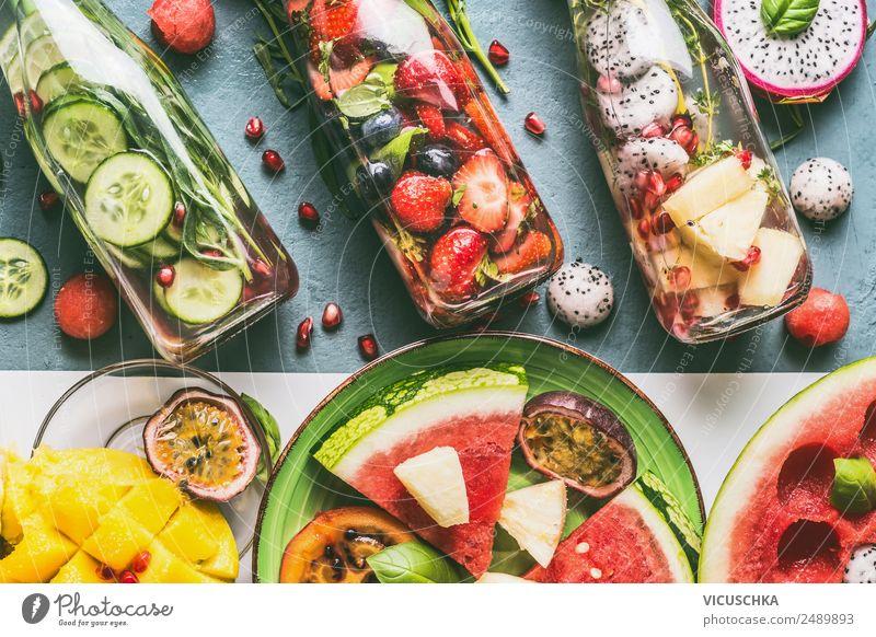 Geschmackswasser mit obst und Kräutern Lebensmittel Gemüse Frucht Apfel Kräuter & Gewürze Getränk Erfrischungsgetränk Trinkwasser Limonade Saft Stil Design