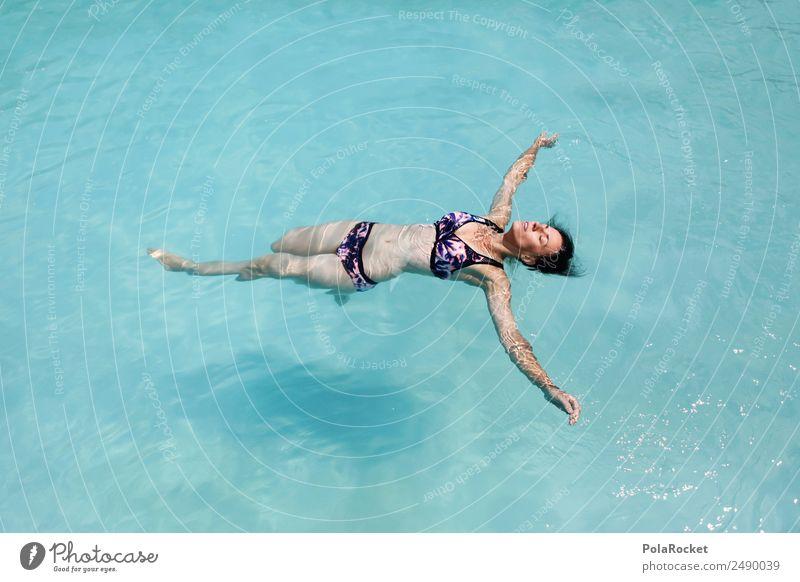 #A# ENTSPNNUNG 1 Mensch Zufriedenheit Unbekümmertheit Frau Erotik Schwimmbad Hotelpool Sommer Sommerurlaub sommerlich Kühlung Schweben Ferien & Urlaub & Reisen