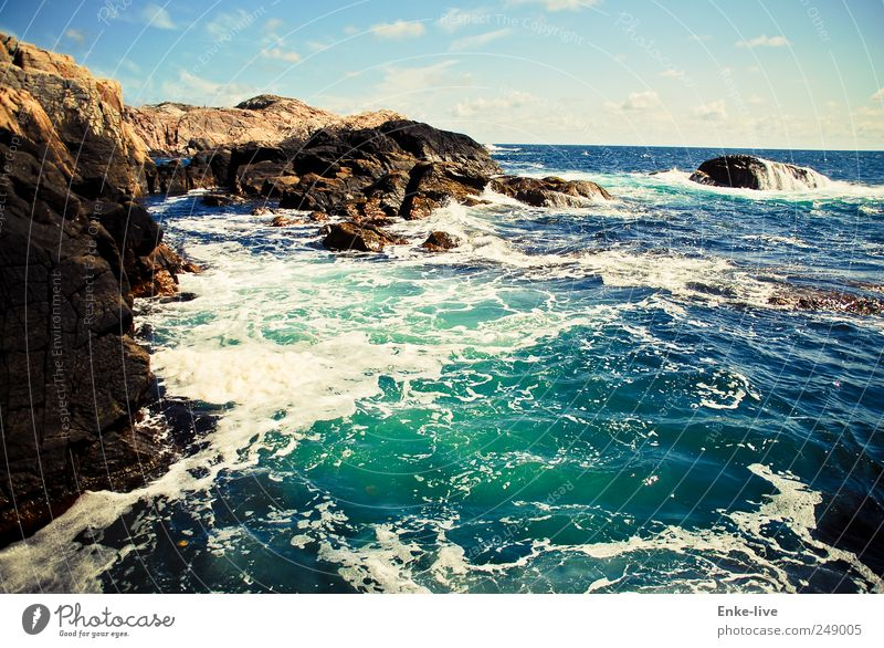Nordsee Himmel Wasser blau Ferien & Urlaub & Reisen Meer Ferne Leben Freiheit Landschaft Küste Stimmung braun Wellen Zufriedenheit Kraft Wind