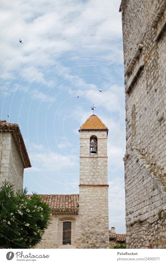 #A# französisches Türmchen Kunst ästhetisch Turm Frankreich mediterran Kunstwerk Kirchturm Glocke Glockenturm Cote d'Azur