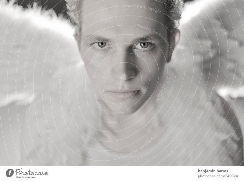 GABRIEL Mensch maskulin Junger Mann Jugendliche Gesicht 1 18-30 Jahre Erwachsene Flügel blond Locken Engel Blick Fröhlichkeit Zufriedenheit Vertrauen Schutz