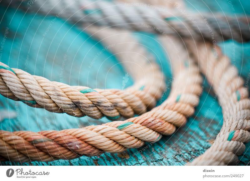 Seilschaft *4* alt Farbe liegen authentisch Vergänglichkeit Schnur Vergangenheit Verfall Verbindung Schifffahrt Zusammenhalt abblättern Schiffsdeck Fischerboot