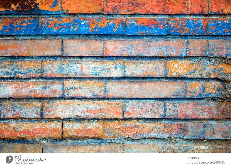 Mauer Lifestyle Arbeit & Erwerbstätigkeit Maurer Wand einzigartig mehrfarbig Farbe Backsteinwand Grenze Farbfoto Außenaufnahme Nahaufnahme Muster