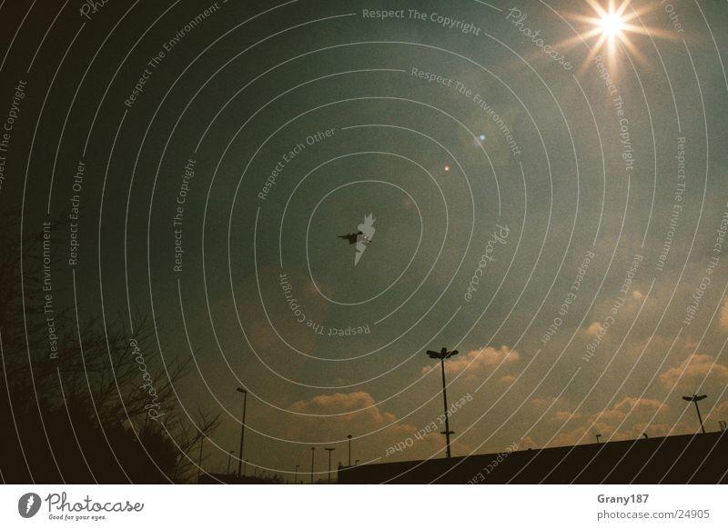 Flieger grüß mir die Sonne! Himmel Sonne Ferien & Urlaub & Reisen Stil Flugzeug groß Beginn Luftverkehr Technik & Technologie Plakat Werbefachmann