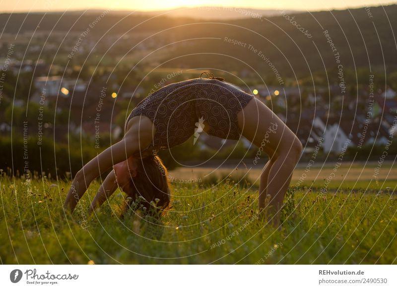 Sommerbrücke Sport Fitness Sport-Training Turnen Mensch feminin Junge Frau Jugendliche Erwachsene 1 18-30 Jahre Umwelt Natur Landschaft Schönes Wetter Gras