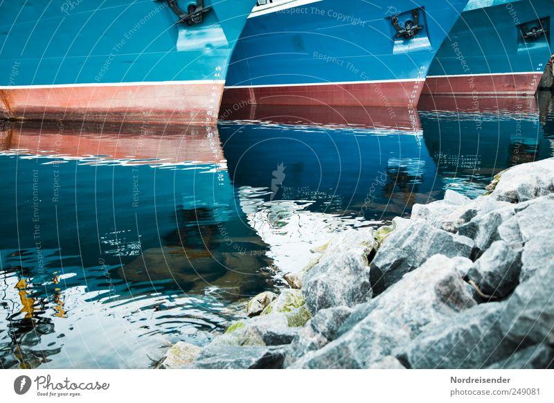 Anstellen Arbeit & Erwerbstätigkeit Beruf Güterverkehr & Logistik Wasser Meer Verkehr Schifffahrt Hafen Anker Zeichen Ziffern & Zahlen Linie Streifen blau