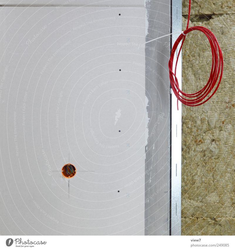 Innenausbau Wand Mauer Stein Linie Wohnung Fassade Beton modern Energiewirtschaft neu authentisch Kabel Streifen Baustelle Bauwerk Umzug (Wohnungswechsel)