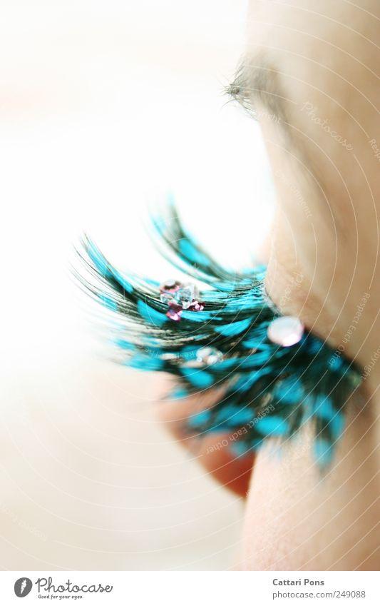 Jewels feminin Auge glänzend liegen tragen dünn eckig elegant fest einzigartig Kitsch klein nah viele blau Wimpern falsch Edelstein Augenbraue Kostbarkeit