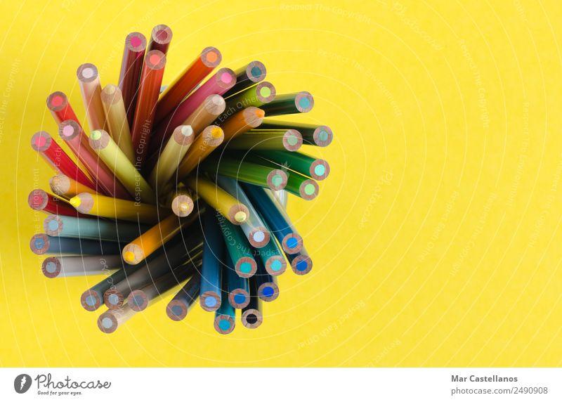 Farbstifte in vertikaler Richtung auf gelbem Hintergrund Freizeit & Hobby Schule Schulkind Anstreicher Büro Kunst Künstler Maler Kunstwerk Schalen & Schüsseln