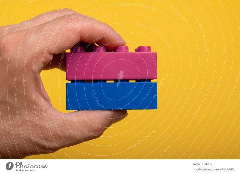 Zwei Bausteine zusammensetzen Freizeit & Hobby Team Hand Spielzeug Kunststoff festhalten Zusammensein blau rosa Liebe Treue Inspiration Teamwork Zusammenhalt