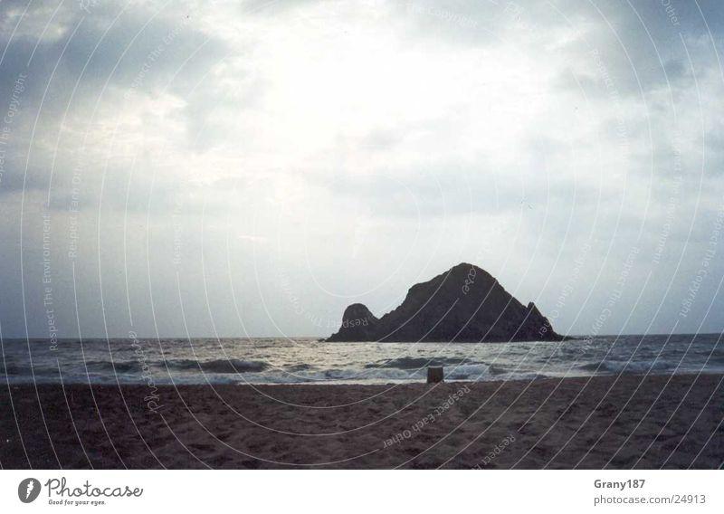 Sandy Beach Wasser Himmel Sonne Meer Strand Ferien & Urlaub & Reisen Wolken groß Insel Island Plakat Karibisches Meer Arabien Freitag Werbefachmann Oman