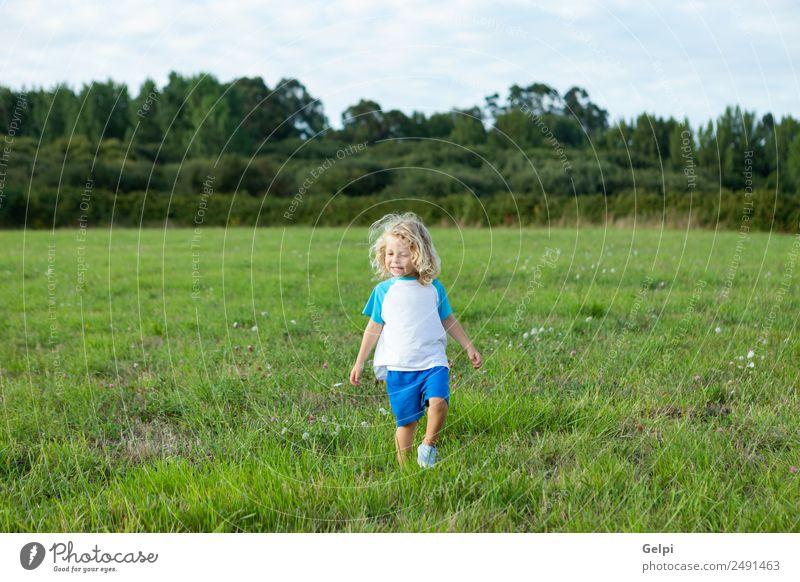 Kleinkind mit langen blonden Haaren Glück schön Sommer Kind Mensch Baby Junge Mann Erwachsene Kindheit Umwelt Natur Landschaft Pflanze Wiese Lächeln klein