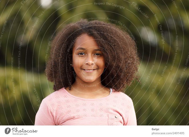 Hübsches Mädchen mit langem Afrohaar. Freude Glück schön Winter Kind Mensch Kleinkind Kindheit Natur Park Afro-Look Lächeln Fröhlichkeit klein niedlich schwarz