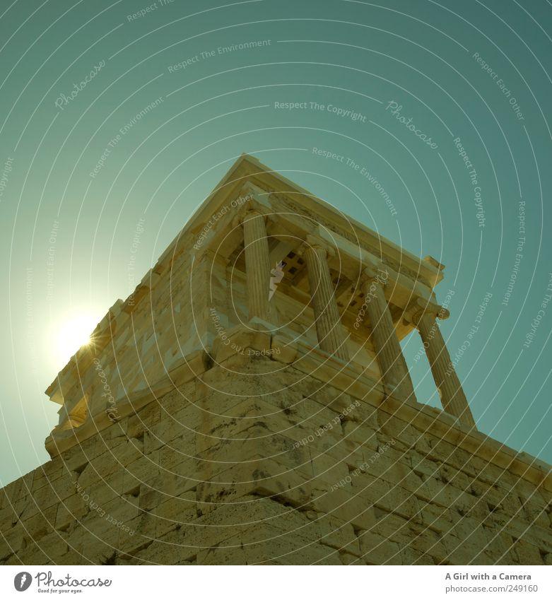 on a pedestal Himmel blau Sommer Architektur Gebäude hoch groß authentisch außergewöhnlich Bauwerk Freundlichkeit fantastisch historisch Schönes Wetter türkis