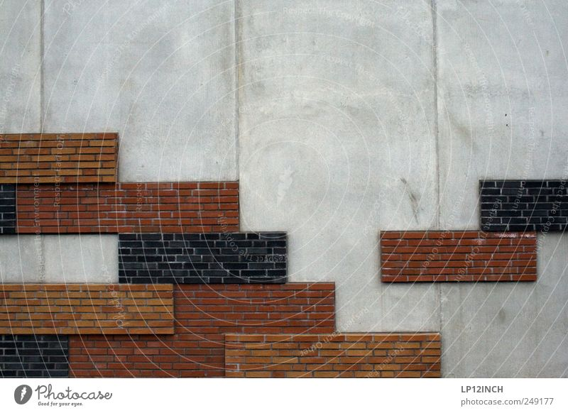 Alexei Paschitnow Hafencity Bundesadler Hafenstadt Mauer Wand Beton Backstein Spielen eckig grau rot tetris Computerspiel Farbfoto Außenaufnahme Menschenleer