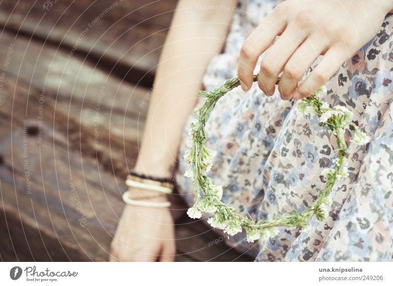 kränzchen Frau Mensch Natur Hand Pflanze Blume Erwachsene feminin Blüte festhalten Junge Frau Hippie Accessoire Grünpflanze Kranz Blumenkranz