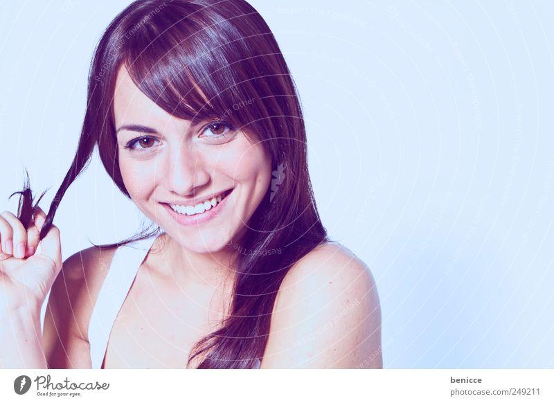 smile Frau Mensch Spielen Haare & Frisuren lachen Model Lächeln brünett selbstbewußt Hochmut