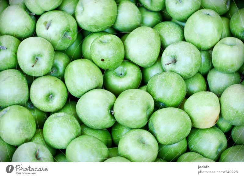 Äpfel Lebensmittel Frucht Apfel Ernährung Gesundheit glänzend sauer viele menge grün giftgrün grasgrün grüner apfel apfelsorte fruchtig Vitamin Granny Smith