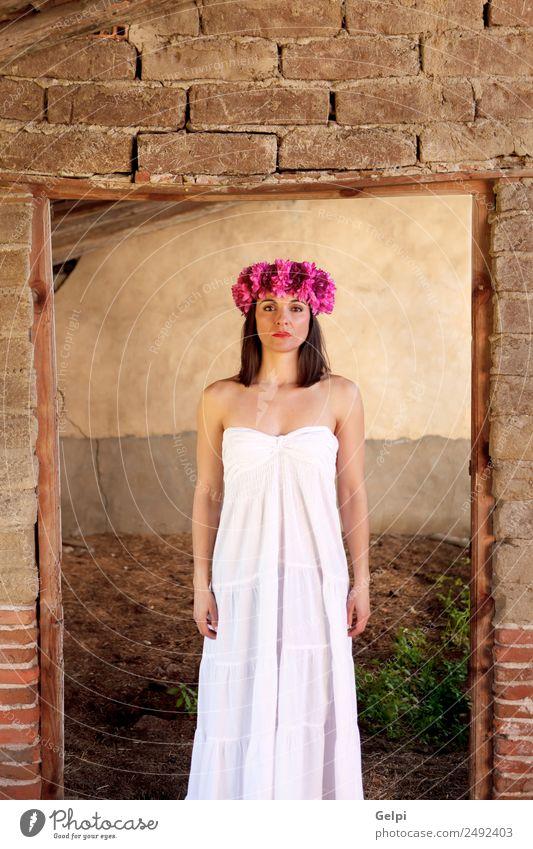 Frau Mensch schön weiß Blume Erotik Haus Gesicht Erwachsene natürlich Glück Mode rosa elegant Haut niedlich