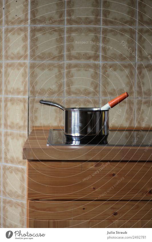 Topf holz Küche Fliesen Schneebesen trendy einzigartig retro Pause Zeit Essen zubereiten kochen & garen Herd & Backofen Farbfoto Innenaufnahme Tag
