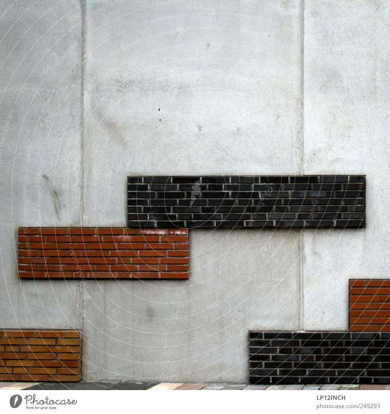 Alexei Paschitnow II Spielen Städtereise Hafencity Deutschland Hafenstadt Mauer Wand Beton Backstein eckig grau rot tetris Block Farbfoto Außenaufnahme