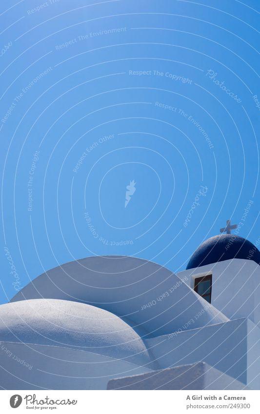 love Santorin Himmel alt blau schön weiß Architektur Gebäude Fassade hell Wetter frisch Fröhlichkeit Kirche Sauberkeit Freundlichkeit Dach