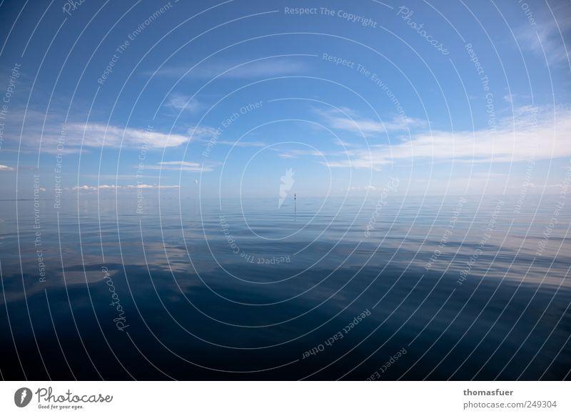 Auflösung oder Verschmelzung ? Himmel Wasser blau weiß Sommer Ferien & Urlaub & Reisen Meer Wolken Einsamkeit Ferne Farbe Freiheit Wellen Horizont glänzend Beginn