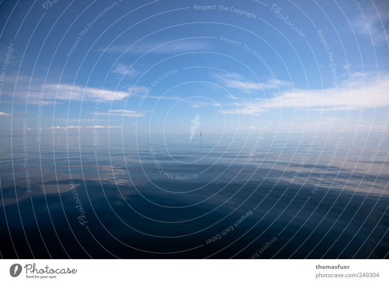 Auflösung oder Verschmelzung ? Himmel Wasser blau weiß Sommer Ferien & Urlaub & Reisen Meer Wolken Einsamkeit Ferne Farbe Freiheit Wellen Horizont glänzend