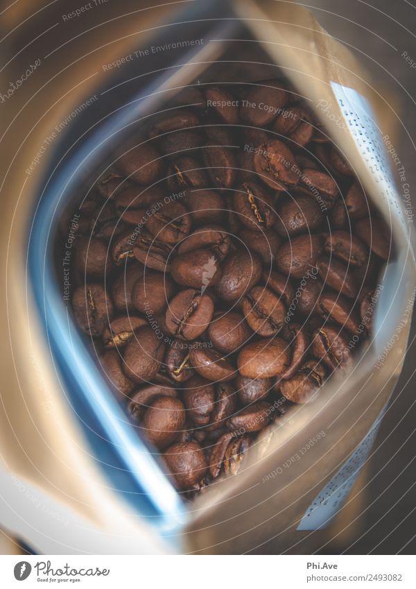 Kaffeebohnen Glück Kunst braun Ernährung frisch ästhetisch Getränk lecker heiß Frühstück Duft Vorfreude Verpackung Mittagessen aufmachen