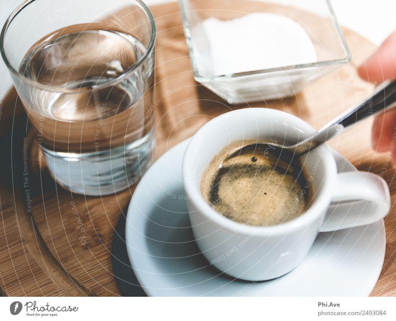 Espresso Genuss. Lebensmittel Zucker Ernährung Frühstück Mittagessen Kaffeetrinken Getränk Wasser heiß rühren Glas Farbfoto Gedeckte Farben Innenaufnahme