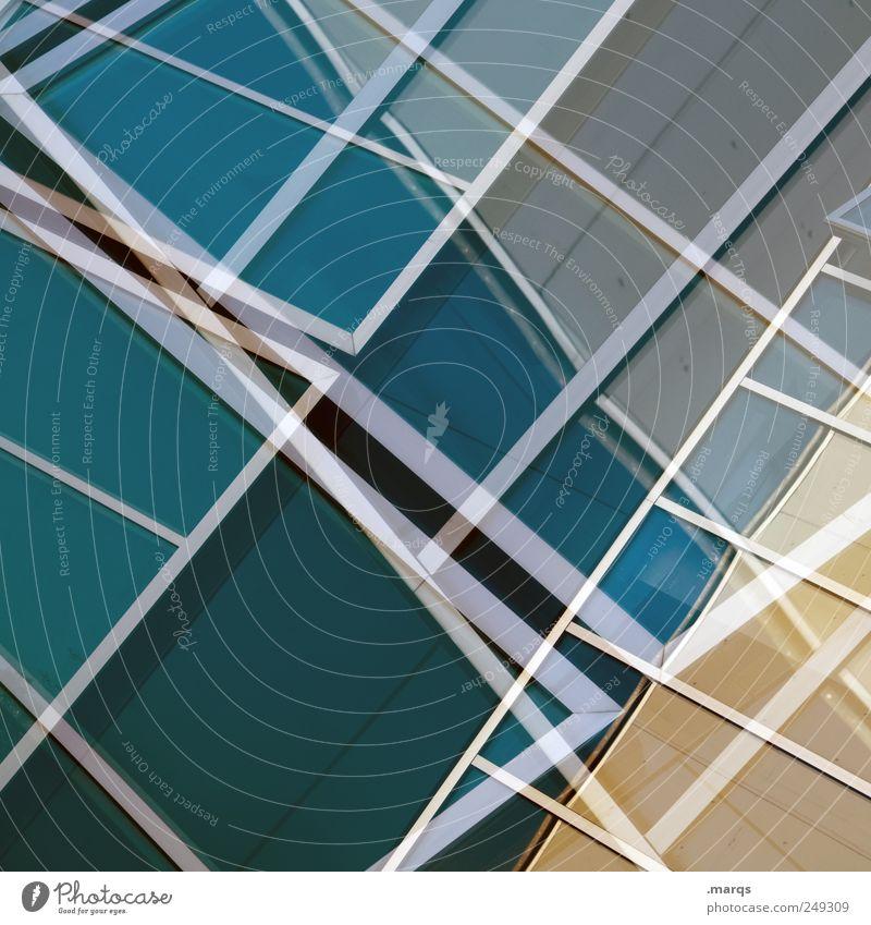Outline Stil Design Architektur Fenster Glas Linie blau chaotisch Farbe planen Präzision Labyrinth Doppelbelichtung glänzend Konstruktion Grafik u. Illustration