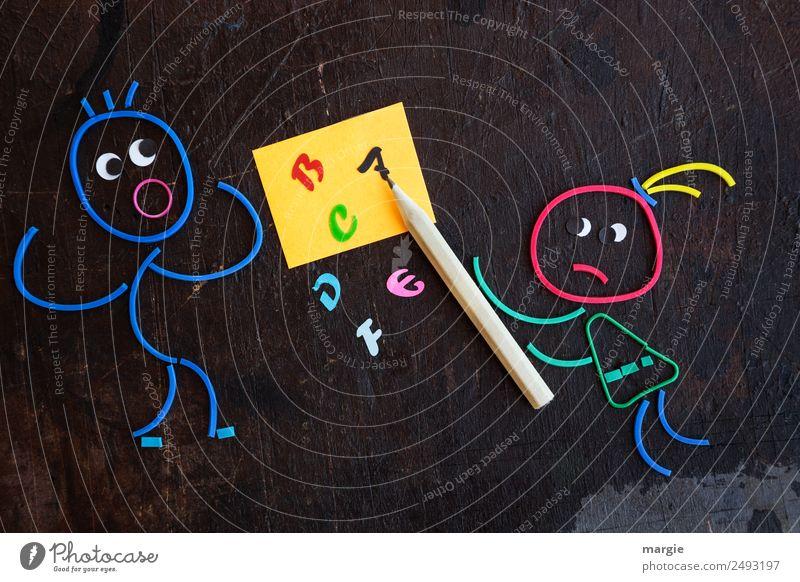 Gummiwürmer: Du lernst das nie! Bildung Kind Schule lernen Tafel Schulkind Schüler Lehrer Mensch maskulin feminin Frau Erwachsene Mann 2 Zettel Schreibstift