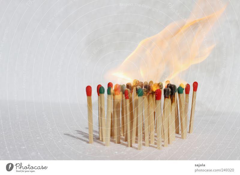 hitzköpfe Feuer Holz heiß grün rot weiß brennen brennbar entzünden Flamme stehen Streichholz vertikal Menschenmenge mehrere Verschiedenheit Team Teamwork