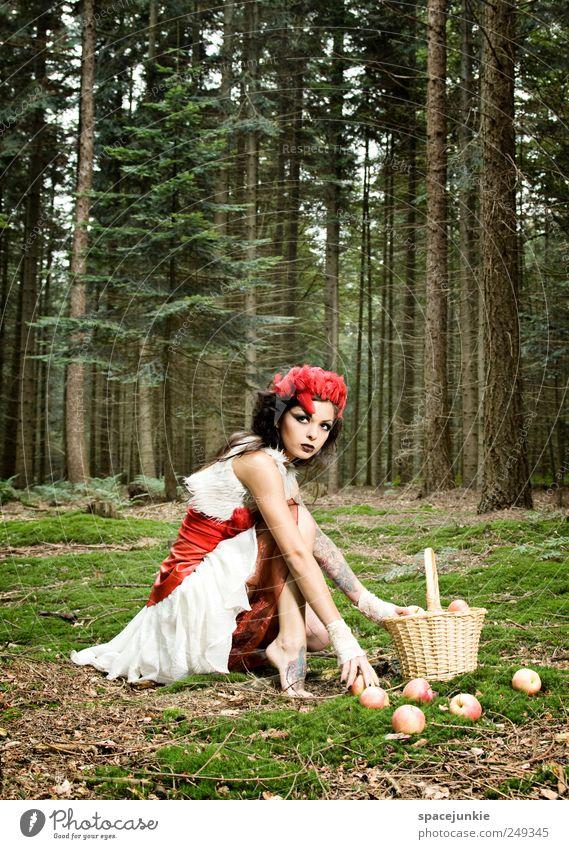 Fairytale Mensch feminin Junge Frau Jugendliche 1 18-30 Jahre Erwachsene Umwelt Natur Landschaft Pflanze Baum Gras Sträucher Moos beobachten berühren braun grün