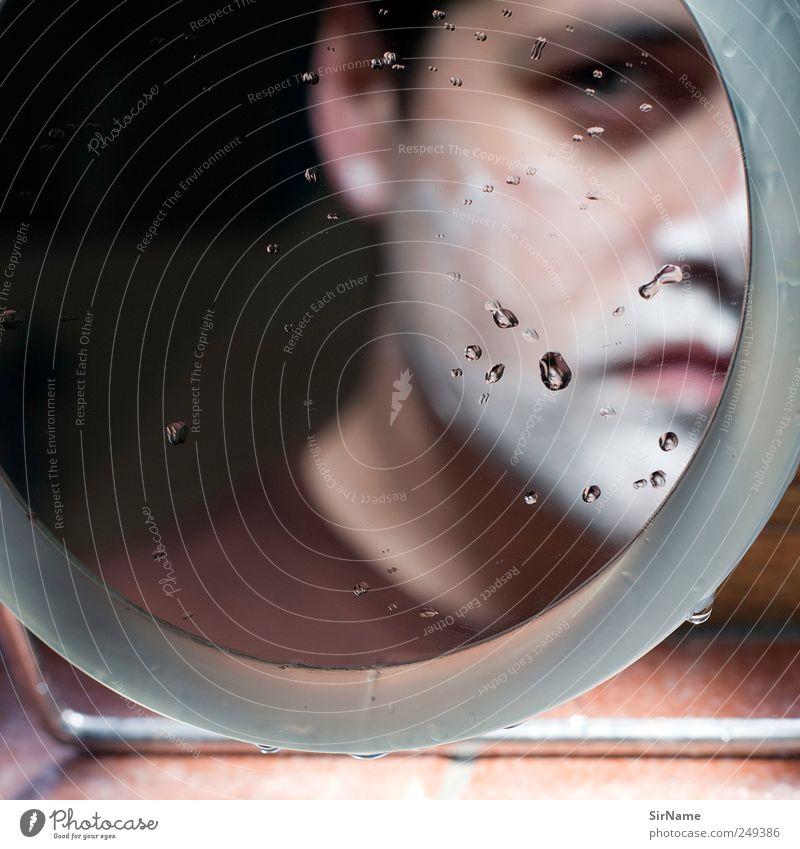 175 [self, shaving] Mensch Mann Gesicht Gefühle Erwachsene träumen Traurigkeit Wassertropfen maskulin authentisch einzigartig Wandel & Veränderung Bad