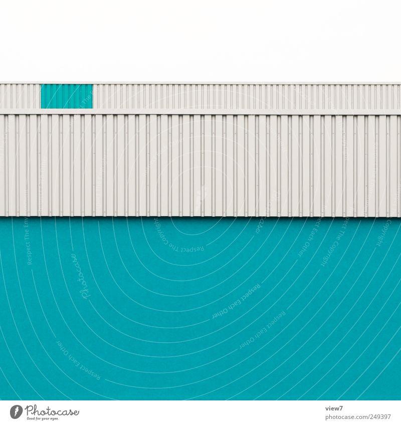 azure blau Haus Ferne Wand oben Architektur Stein Mauer Linie Fassade Beton Ordnung Design Beginn groß
