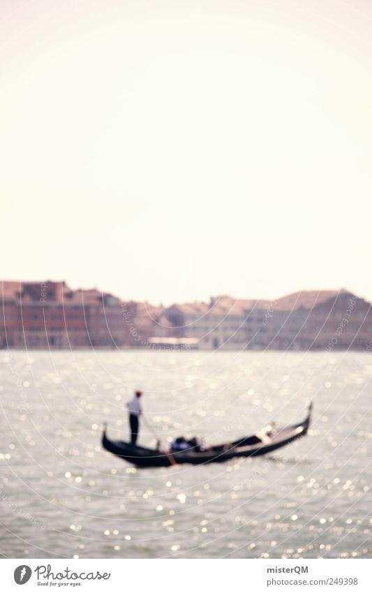 Venice Guy. Kunst ästhetisch Gondel (Boot) Gondoliere Wasser Meer Venedig Veneto Italien Romantik Wasserfahrzeug Haus Skyline Farbfoto Gedeckte Farben