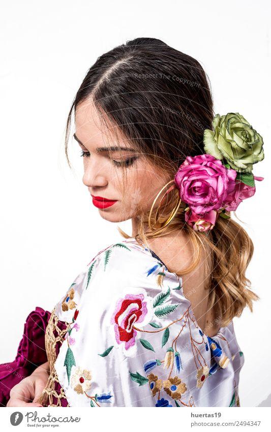 Porträt einer jungen Flamencotänzerin Lifestyle elegant Stil Glück schön Tanzen Frau Erwachsene Kunst Künstler Tänzer Kultur Blume Mode Kleid niedlich weiß