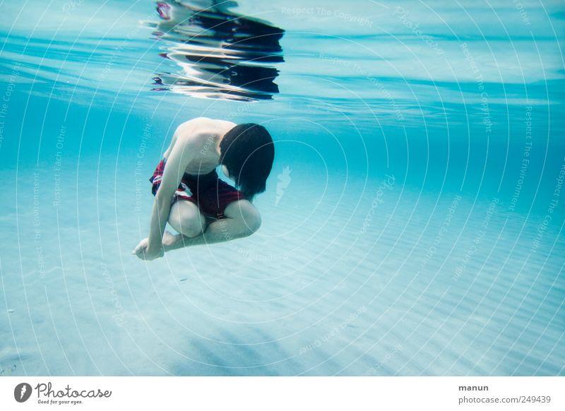 schwerelos Mensch Natur Jugendliche Wasser Ferien & Urlaub & Reisen Meer ruhig Erholung Leben Zufriedenheit Schwimmen & Baden Freizeit & Hobby natürlich maskulin authentisch tauchen