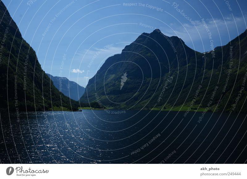 norwegischer Fjord Natur blau Wasser schön Ferien & Urlaub & Reisen Meer Sommer ruhig Landschaft Berge u. Gebirge Küste Reisefotografie Idylle Schönes Wetter Sommerurlaub Fernweh