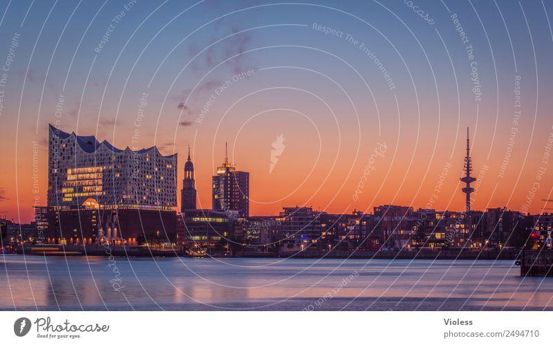 Schönste Stadt Skyline XIV Hafenstadt Bauwerk Gebäude Sehenswürdigkeit Wahrzeichen Denkmal glänzend außergewöhnlich Coolness fantastisch maritim Hamburg