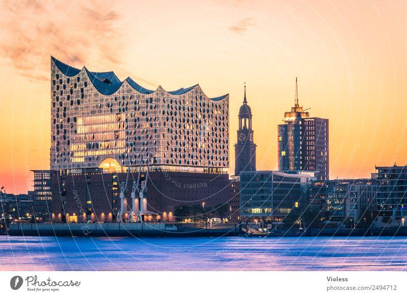 schönste Stadt Skyline II Hafen Hamburg Elbphilharmonie Licht Kehrwiederspitze Hafenstadt Brücke Bauwerk Gebäude Sehenswürdigkeit Wahrzeichen Denkmal glänzend